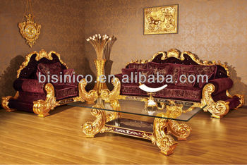 NEW ITEM- Luxury hand carved 24K gold plated gold and red sofa set, MOQ:1SET(B6037)