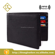 Genuine leather slim wallet card holder bifold men's wallet