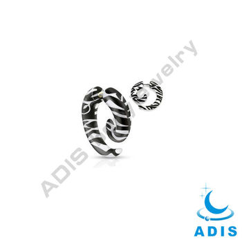fake spiral zebra print ear jewellry