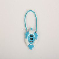Round logo printed protable colorful cable combination safety 3 digit code lock