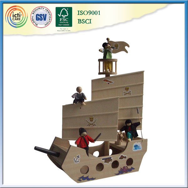 New arrival toys miniature wooden ship is best choice