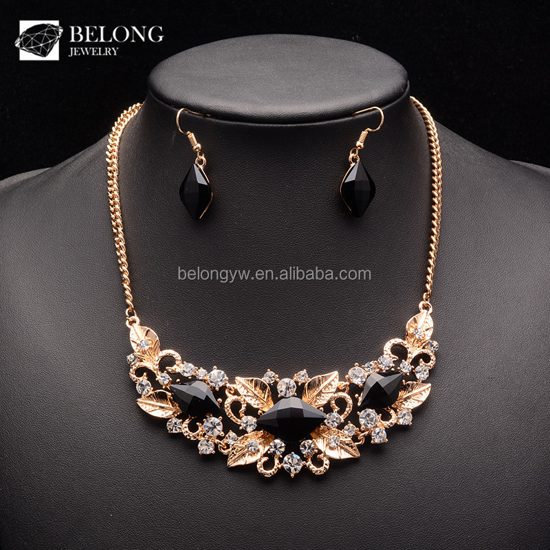 BLHS0103 wedding accessories black diamond crystal choker necklace jewelry set