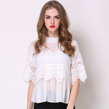 Wholesale Cheap Fashionable Fancy White Chiffon Laces Crochet Ladies Blouse