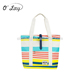 2015 New fashion wholesale cheap women plastic beach bag with custom printed