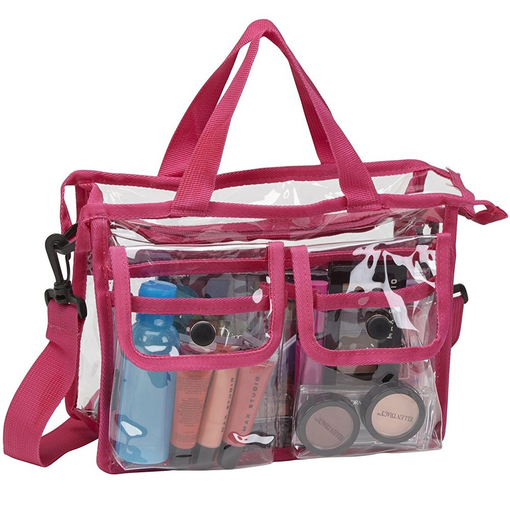 Makeup Artist Clear PVC Set Bag w/ Removable Shoulder Strap (Black)