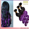 Hot sale 2016 ombre black purple body wave brazilian human hair wet and wavy weave