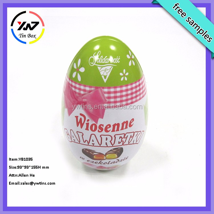 wholesale custom printed empty gift chocolate candy Easter egg tin