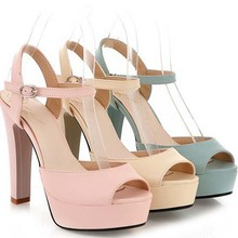 SC1074 2014 European and American Fashion Word-type Buckle Thick Heel Wild Casual Open-toed Flip Top Ladies Sandal