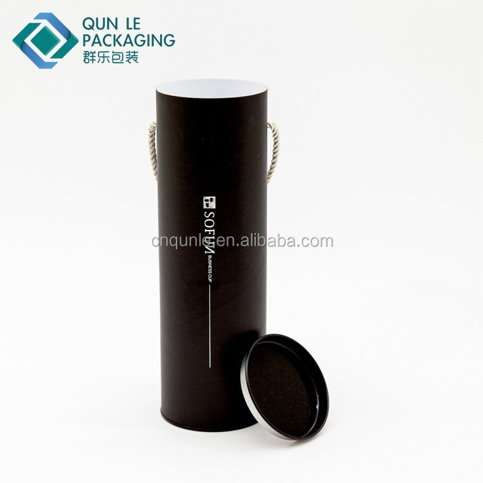Custom Size Cheap Cardboard Paper Cylinder Wine Bottle Box with Handle