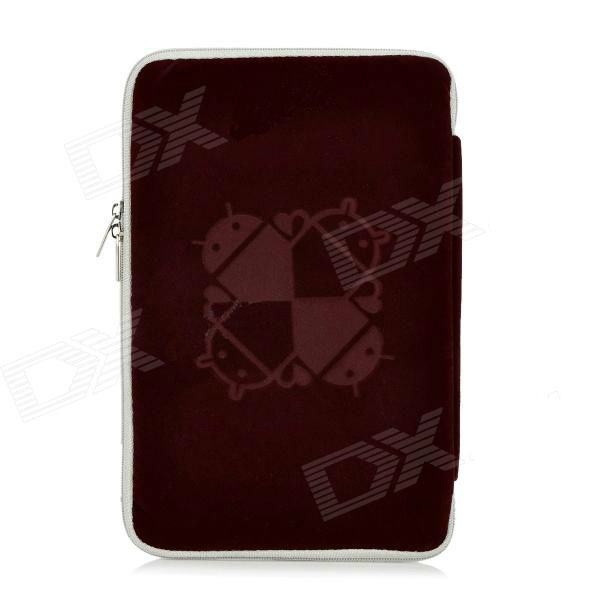 Robot Pattern Protective Sponge Dual Zipper Bag Case for iPad Mini / 7'' Tablets - Deep Red