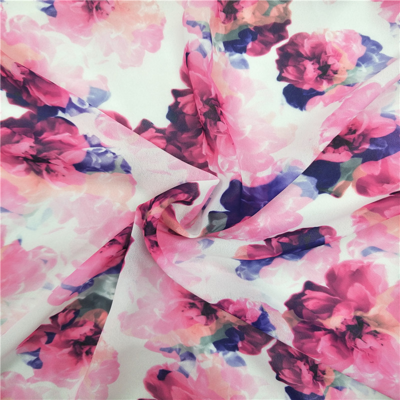 Custom Wholesale Flowers Digital Printed Silk Curtain Pure Chiffon Fabric