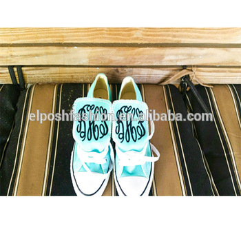 Wholesale Free Shippment Latest Custom Personalized Low Or High Top Monogram Canvas Shoes