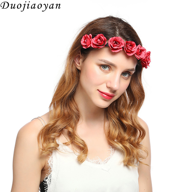 Custom Fabric Wedding Flower Garland Wreath Charming Hair Accessories Decoration Bohemian Lei Rose Flower Plastic Headband