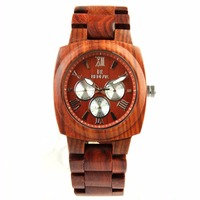 2018 Fashion movt quartz watch sandalwood verawood maple square chronograph wood watches logo
