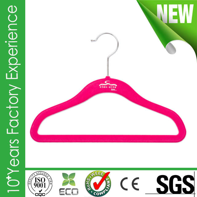 CR-AU500_velvet Brand new plastic plating clothes hanger with high quality