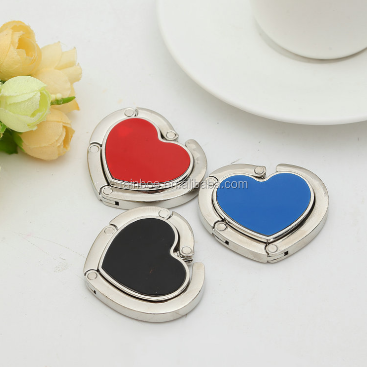 Promotional logo printed metal heart shape blank purse hook
