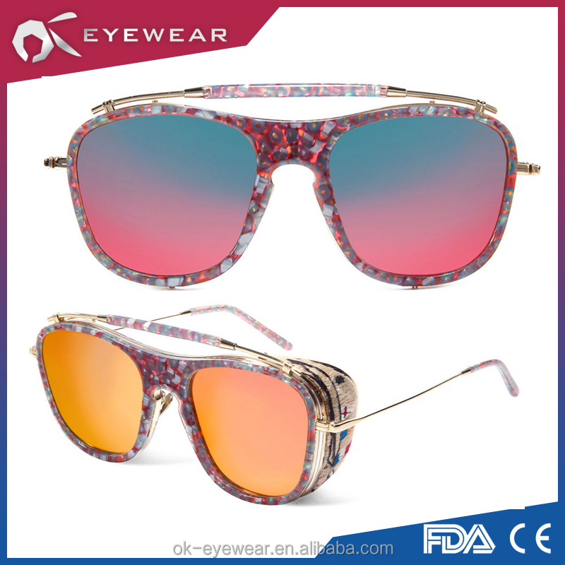 Metal and Acetate Shade Sunglasses for Wholesale