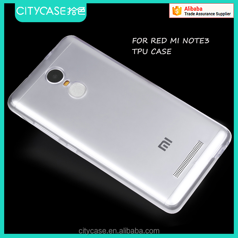 city&case simple transparent tpu case for red mi note3