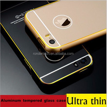 Wholesale tempered glass case for iphone 5 5s metal bumper tempered glass case for iphone 5 5s