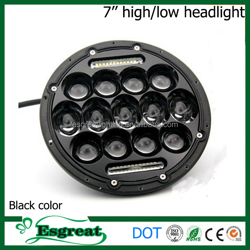 Super Bright 7 inch 75w High Low Beam Headlight Turn Light For Wrangler With Angel Eyes Headlamp Turning Light DOT EMC