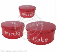 3pcs Galvanized Steel Food Storage Canister with Lid