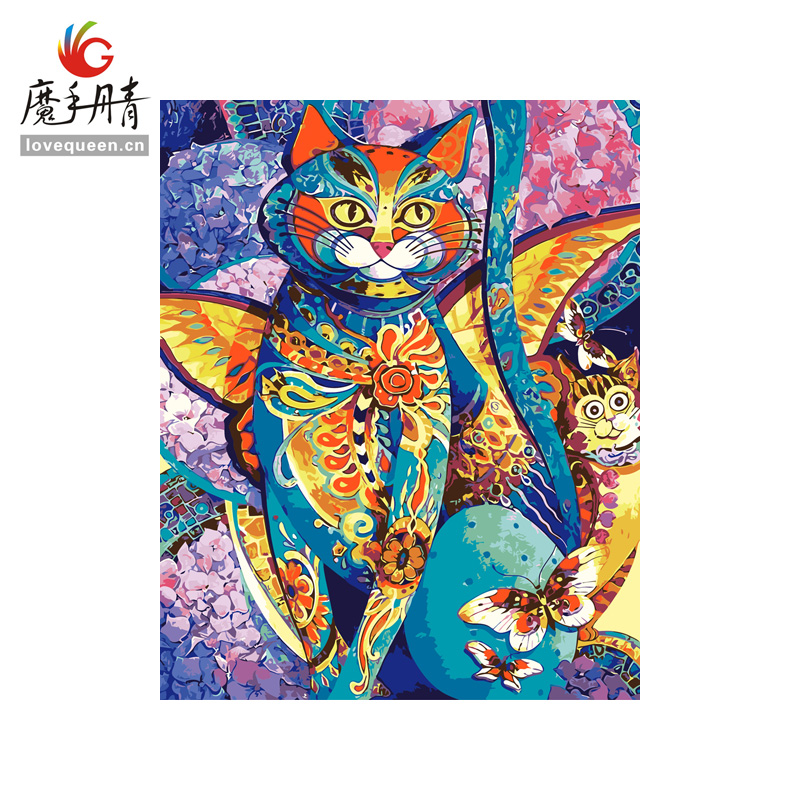 very hotsale popular colorful mordern new design fashion style cat diy oil canvas painting paint by numbers