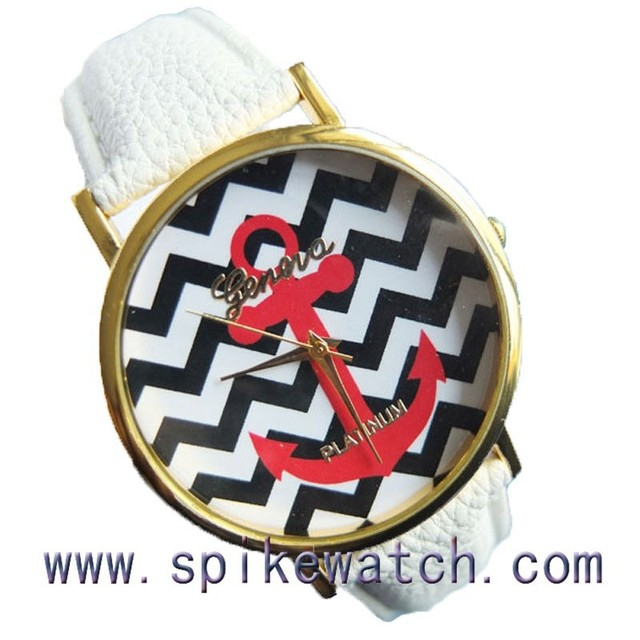 Trendy anchor face geneva platinum watch japanese movement