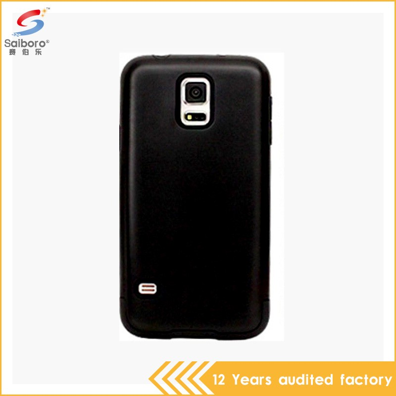 Wholesale bulk cheap black color pc with tpu cell phone case for samsung galaxy s5