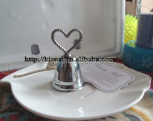 Silver Heart Bell Wedding Place Card Holder And Party Favors