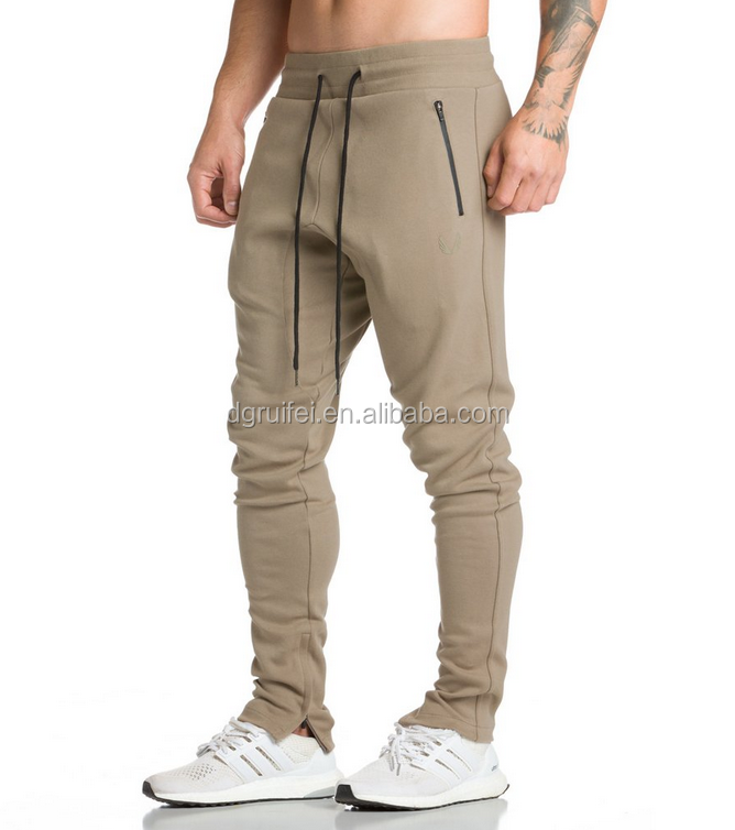 Men's sports cotton polyester fitted bank jogger pants tight track pants