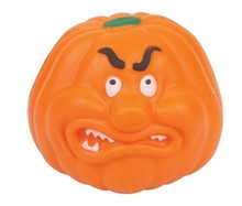 promotional PU foam antistress ball with pumpkin shape and different expression