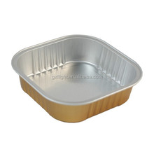 Golden square smooth wall airline aluminum foil food container