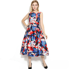 Designer Casual Floral Print Dress Women Fashion Sleeveless Vest Dress Vestidos Vintage Party Large Swing Pinup Dresses