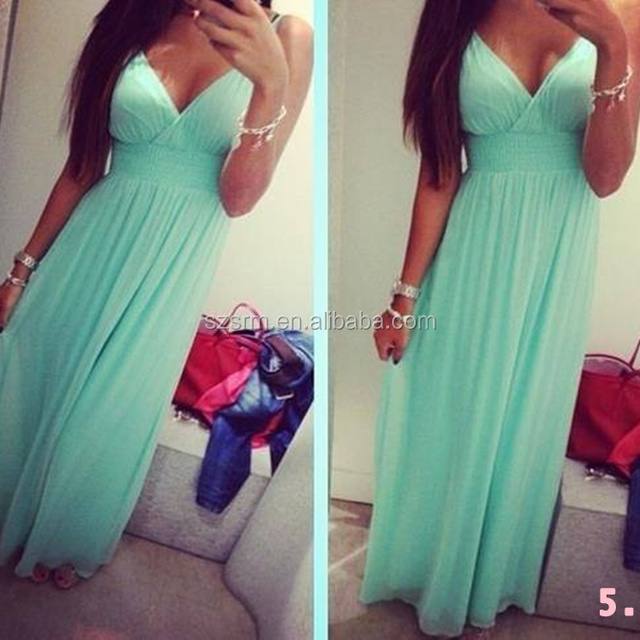 2018 New Arrival Mint Green V Neck Chiffon Long Bridesmaid Dresses Brides Maid Dresses Free Shipping ZBD239