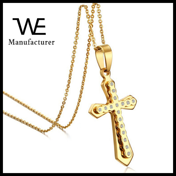 2016 Luxury Pave Zircon Stone Stainless Steel Big 14K Gold Cross Pendant Designs Men Jewelry