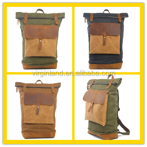 1041 Top Quality Rolled Vintage Backpack Canvas Waxed for Sale