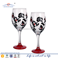 COLORED WINE GOBLET;DECAL GLASS GOBLET;CUSTOM DECORATIVE GOBLET