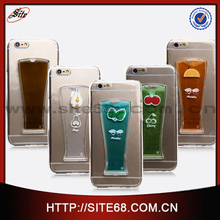Clear transparent mobile phone liquid flowing back cover for iphone 6