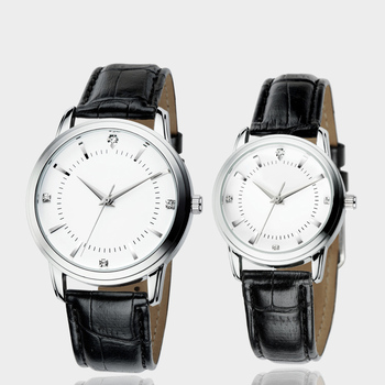 Wholesale Black Leather Band Couple Watch Japan Pair Watch