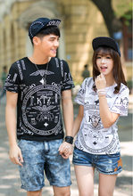 2015 summer Korean style personality cotton couple's t shirt