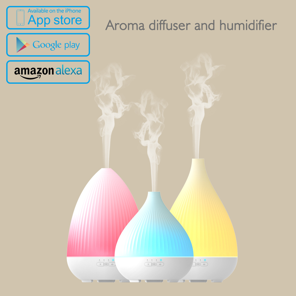 300ml essential oil diffuser with 7 Color Lights support work with alexa and mobile APP control
