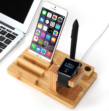 multi-function wood/bamboo charging dock stand for apple watch, stand for apple watch