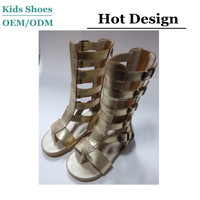 Metallic Gold Cow Leather New Design Cool Little Girls Strappy Gladiator Comfort Flat Sandals