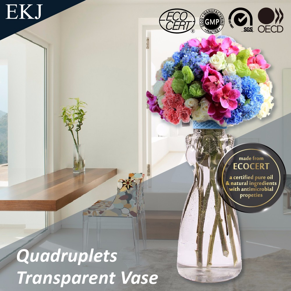 Plastic Four Sides Transparent Bottle/Vase