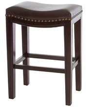 Structure Nailhead Accents Backless Brown Leather Counter Wooden Stool (Set of 2) Dining Room Furniture NO.KA2