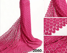 2060 Fushia colour elegant guipure lace fabric/wedding dress fabric/african cord lace