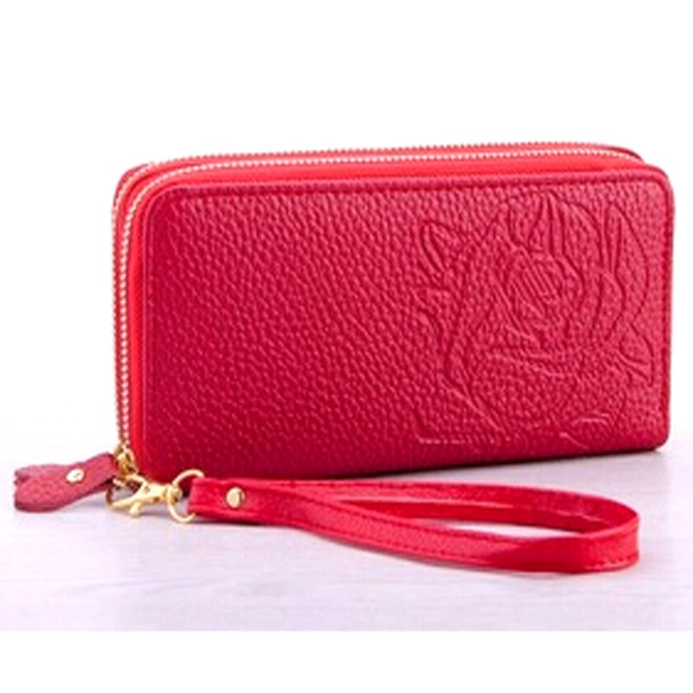 Rose Embroidery PU Leather Bifold Zip Around Wallet