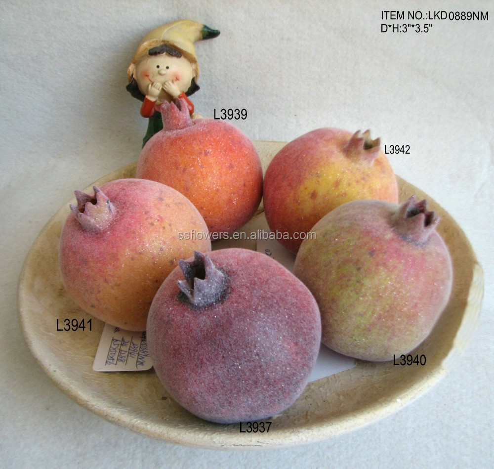 "decorative emulation artificial foam pomegranate fruits 3""*3.5"" with emulation sugar for havest home decoration"
