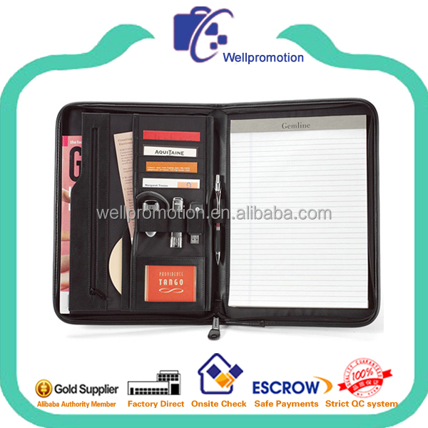 Fashion black a5 leather portfolio with zipper