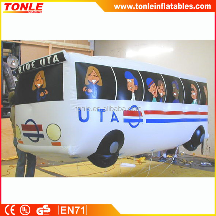 Advertising custom flying bus inflatable model, helium inflatable balloon bus for sale